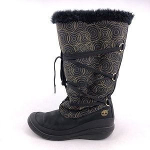 Timberland Black Gold Faux Fur Winter Boots 8M